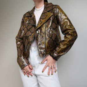 ZARA snake print faux patent leather moto jacket